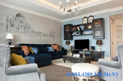 trang trí phòng khách bằng vẽ tranh tường phòng khách