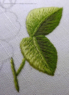 View of veins added to needlepainted leaves