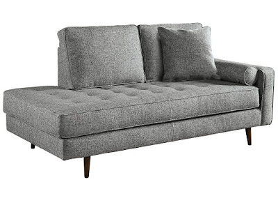 gray midcentury style living room chaise