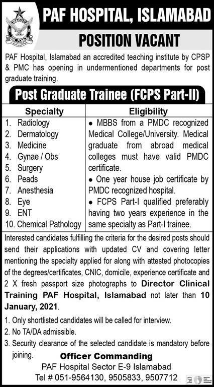 Post Graduate Trainees 2021 - PAF Hospital Jobs 2021 - Pakistan Air Force Jobs 2021 - Latest Govt Jobs 2021 - January 2021 Jobs in Pakistan
