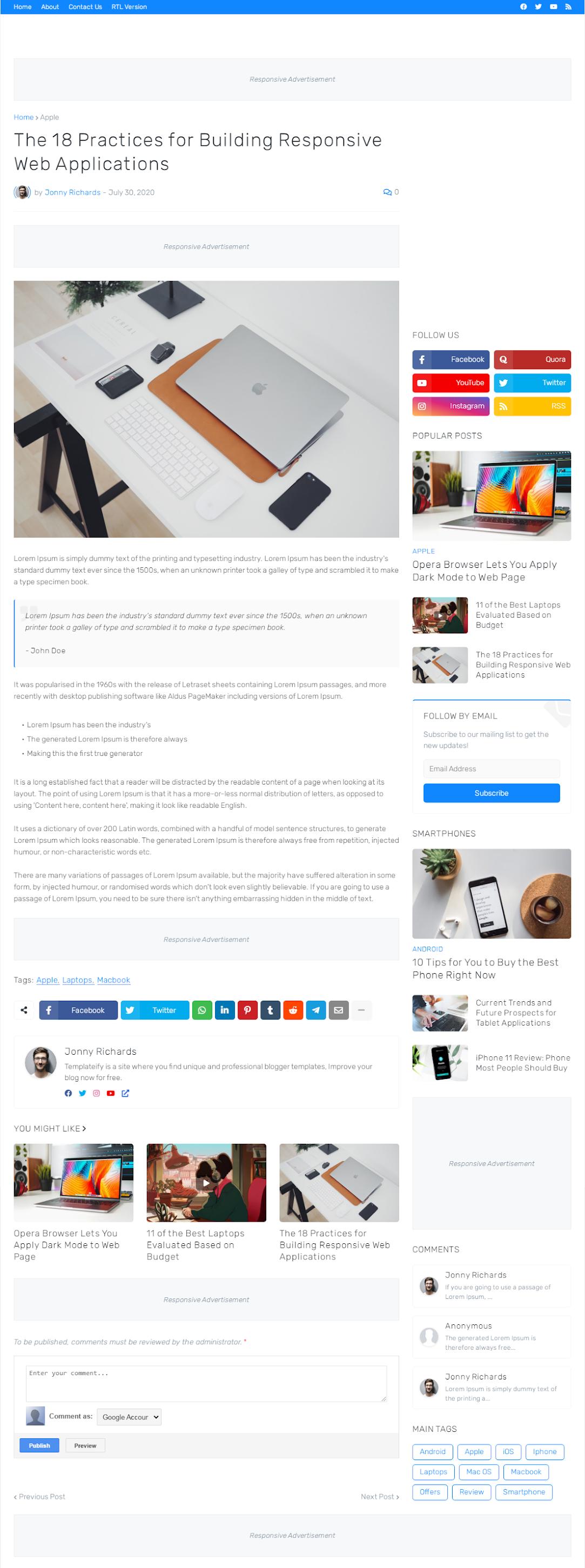 DEMO Trang bài viết SuperMag Template BlogSpot Tin Tức Chuẩn SEO