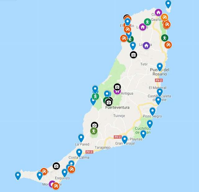 mapa para visitar Fuerteventura en coche