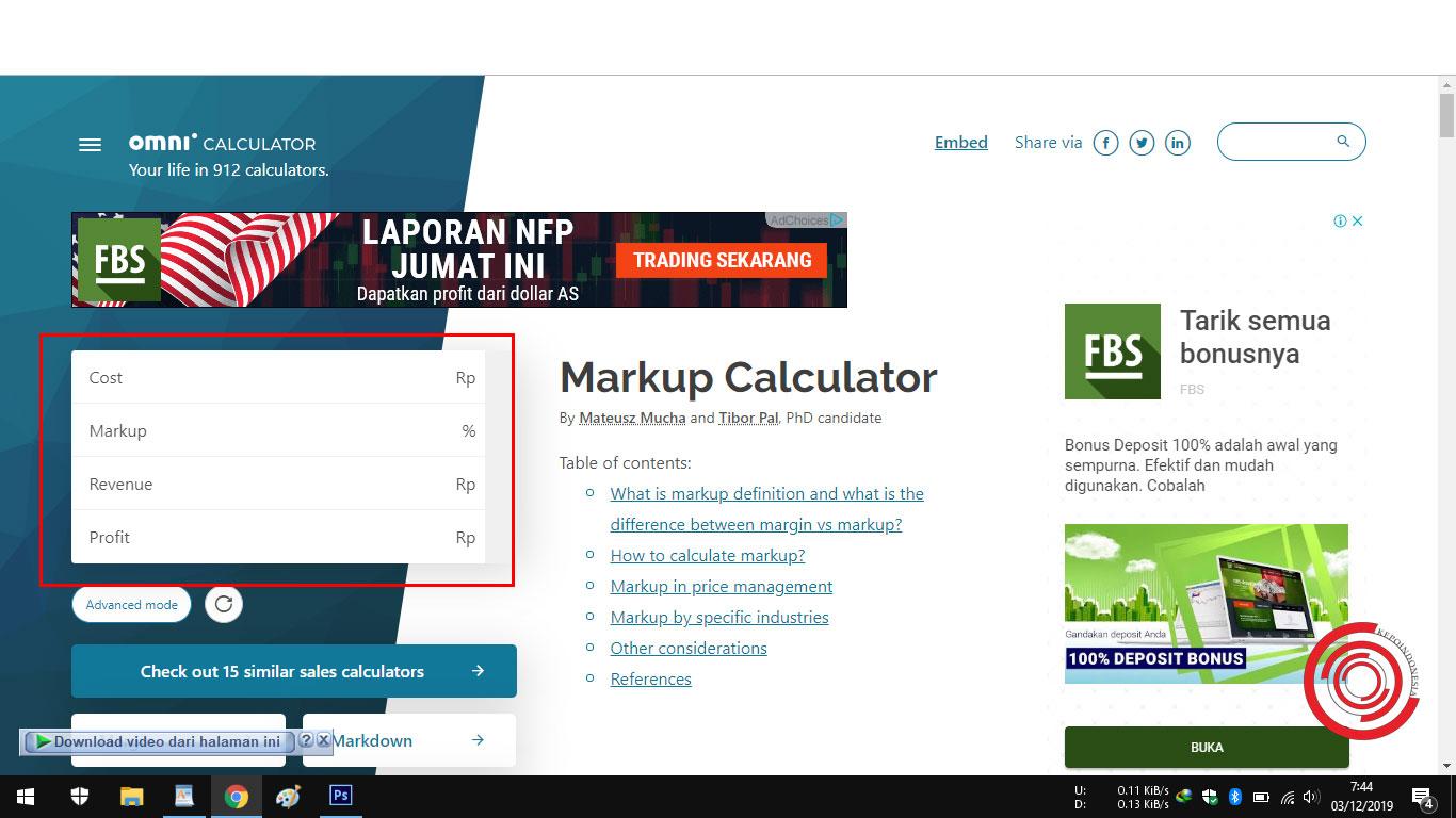 Cara Menghitung Markup Keuntungan Secara Online Tanpa Rumus - KEPOINDONESIA