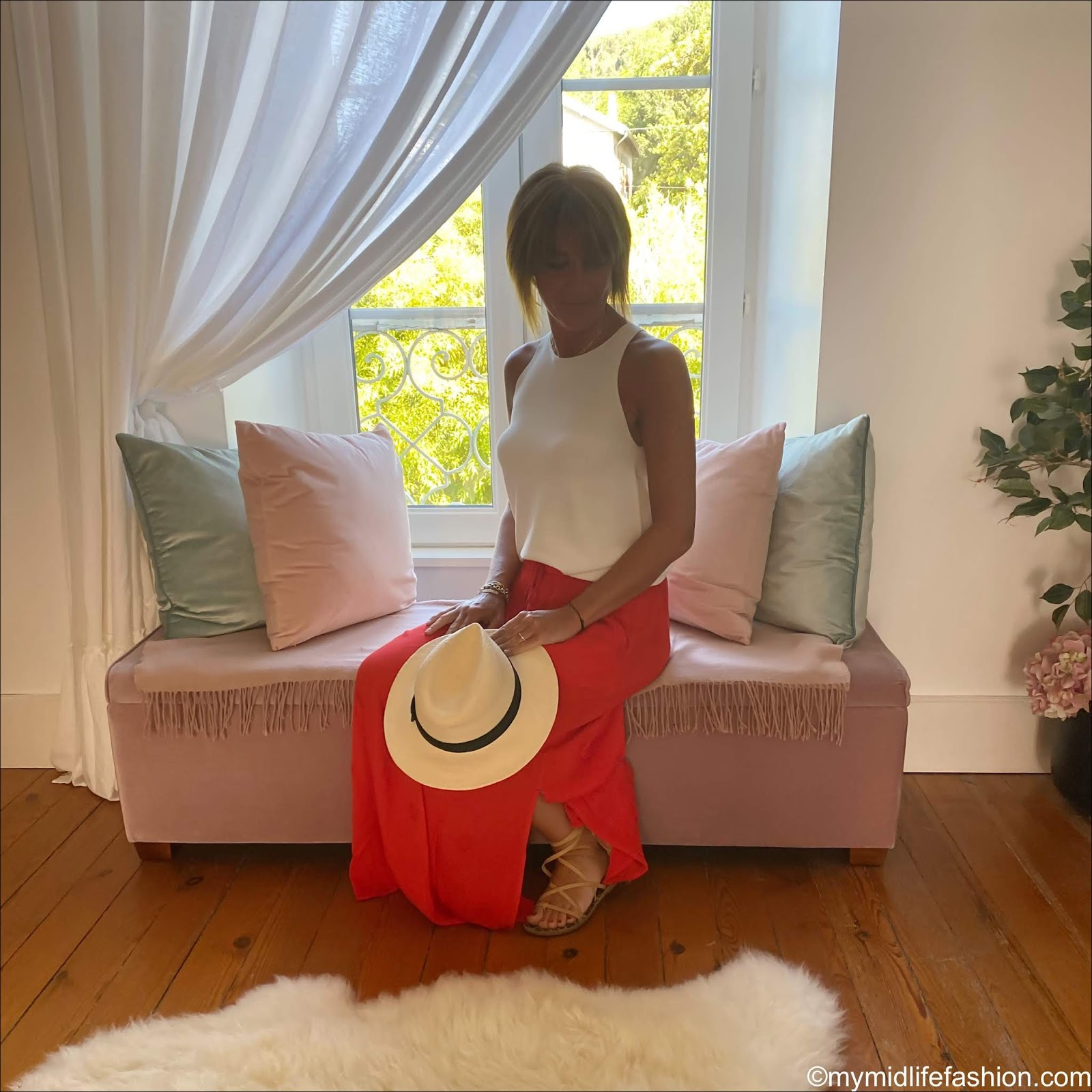 my midlife fashion, zara sleeveless top, white stuff sea lily crinkle maxi skirt, h and m Panama hat, Ancient Greek sandals