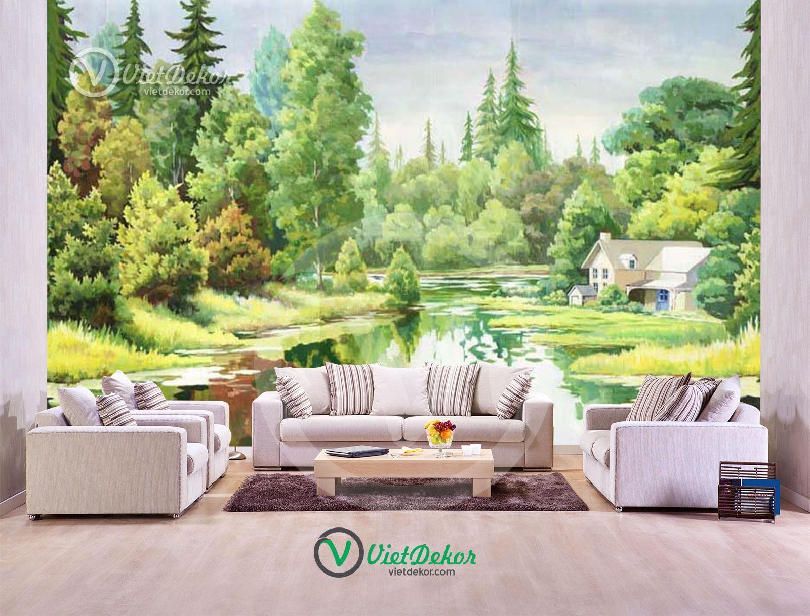 Tranh dán tường 3d phong cảnh làng quê và cây