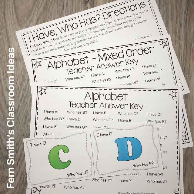 Grab This Alphabet I Have, Who Has? Card Game Resource For Your Classroom Today!