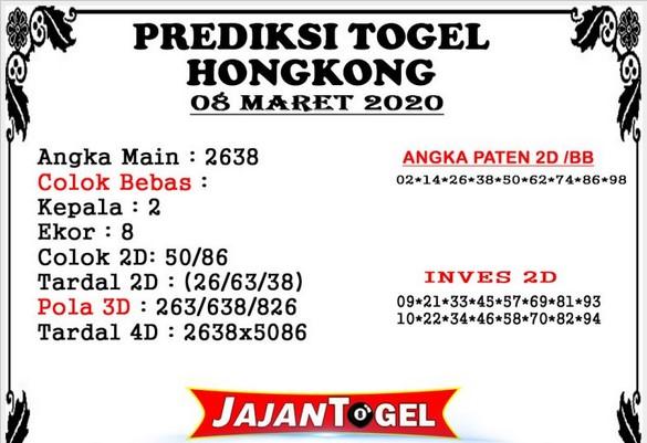 Prediksi Togel HK Minggu 08 Maret 2020 - Prediksi Jajan Togel