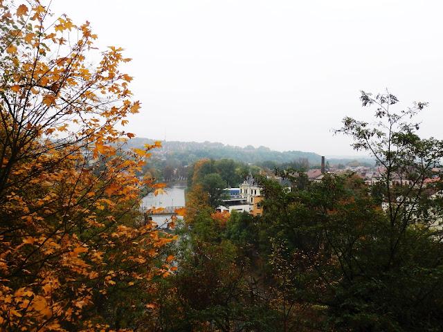 Widok ze Wzgórza Zamkowego na Cieszyn, Olzę i Cesky Tesin