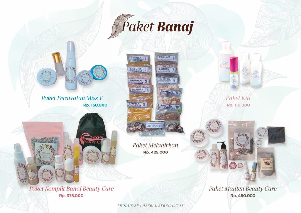 Paket Banaj 2. Paket Perawatan Miss V, Paket Melahirkan, Paket Kid, Paket Komplit Banaj Beauty Care, Paket Manten Beauty Care.