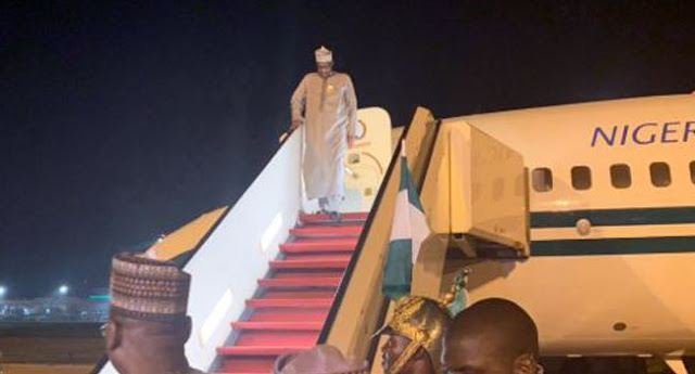 BREAKING: Buhari Returns From Private Visit To UK
