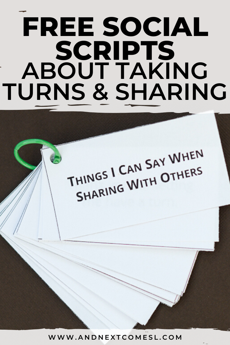 Free social scripts for autism about taking turns and sharing