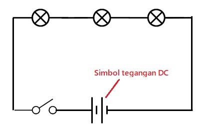 simbol tegangan listrik dc