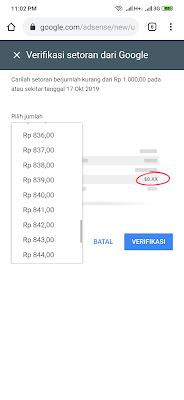 verifikasi pembayaran google adsense with OVO