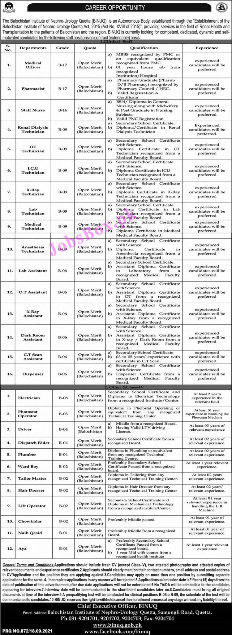 www.binuq.gob.pk - BINUQ Balochistan Institute of Nephro-Urology Quetta Jobs 2021 in Pakistan