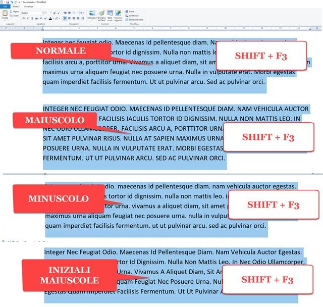 trasformare testo in wordpad