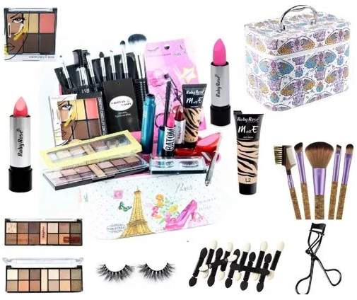 Maleta Kit Maquiagem Completo Profissional Base Ruby Rose - Facily