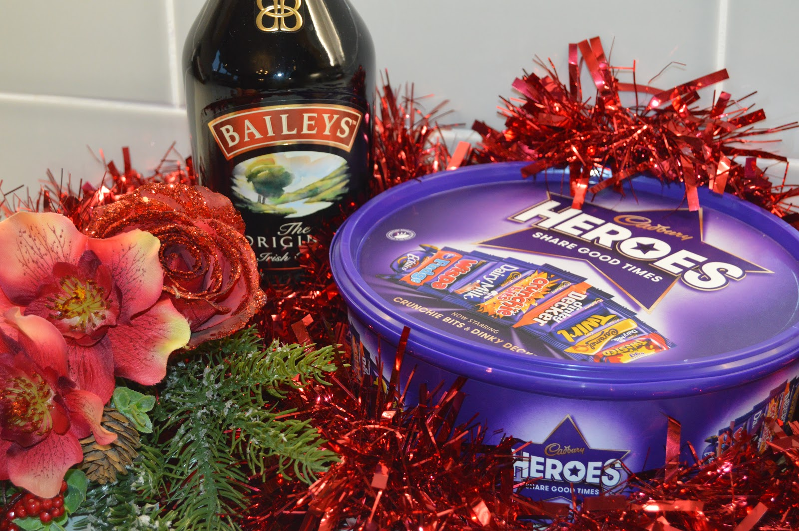A bottle of baileys and chocolates