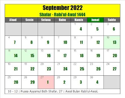 kalender islam hijriyah september 2022 masehi - kanalmu