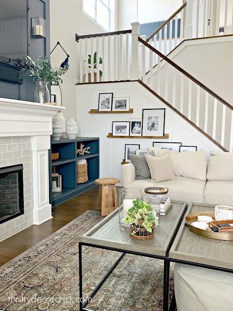 DIY wood picture ledges stairs