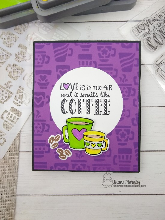 Love is in the air by Diane features Love Cafe and Mugs by Newton's Nook Designs; #newtonsnook, #cardmaking, #coffeelovers, #coffeecards