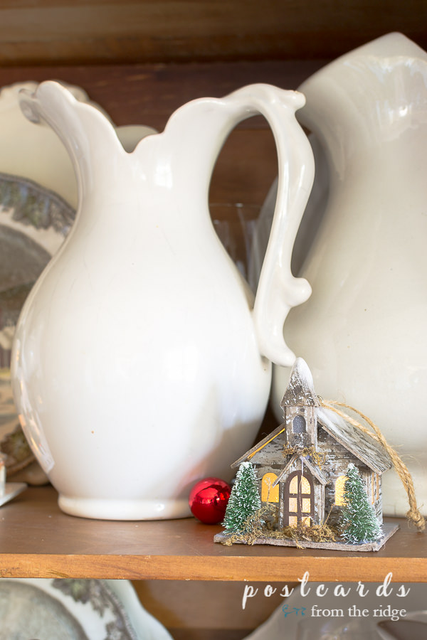 white ironstone pitcher and little birch LED house