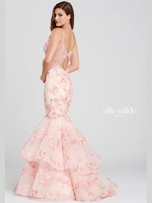 Ellie Wilde Mermaid pink Prom Dress back side