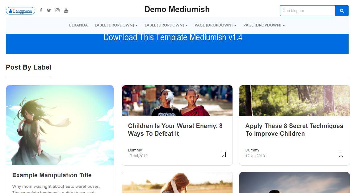 Download Template Mediumish Blogger Mirip Medium