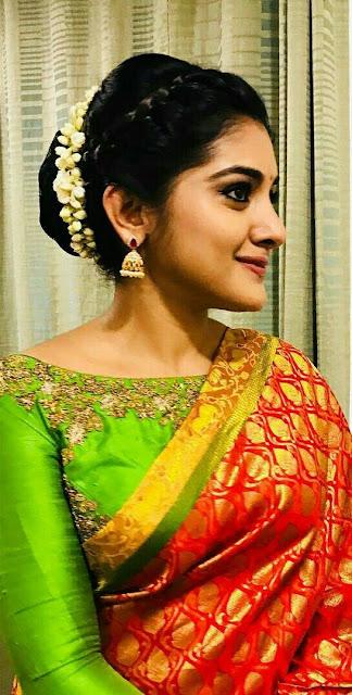 Actress Niveda Thomas In Traditional Orange Saree Actress Trend