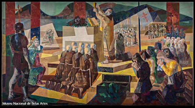 """""""A Primeira Missa no Brasil"""", de Candido Portinari, no Museu Nacional de Belas Artes"""