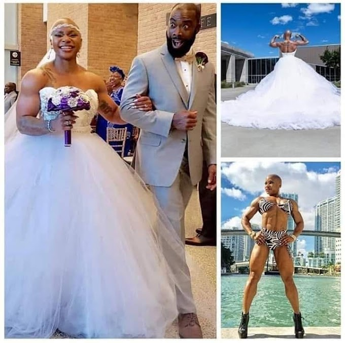 Photos: Female bodybuilder gets married, shows off her prominent muscles