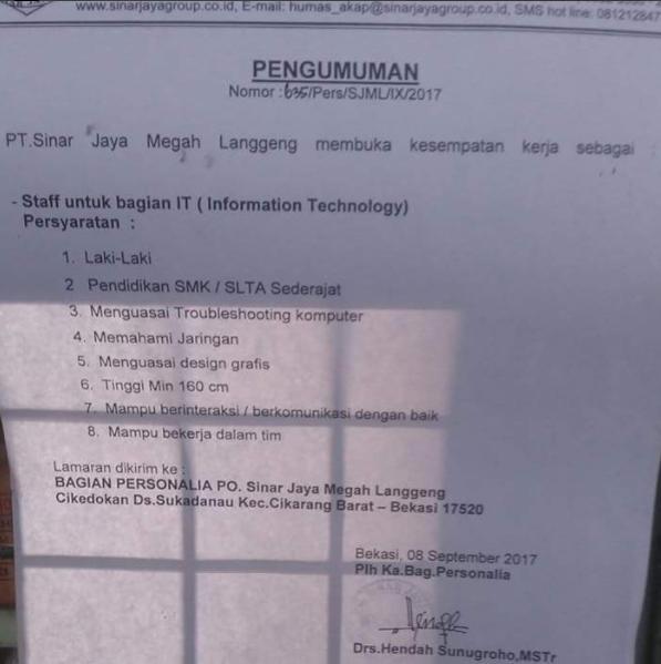 Lowongan Kerja Staff PO Sinar Jaya Megah Langgeng
