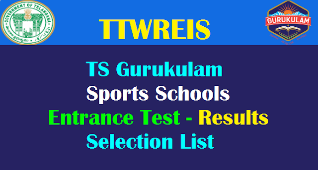 TTWREIS Sports Schools Entrance Test Results 2019 (TS Gurukulam)