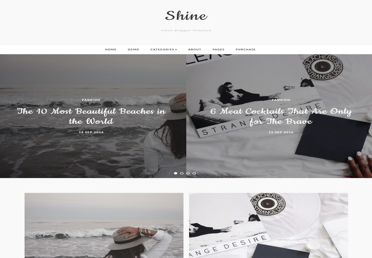 Shine Blogger Template with sample post