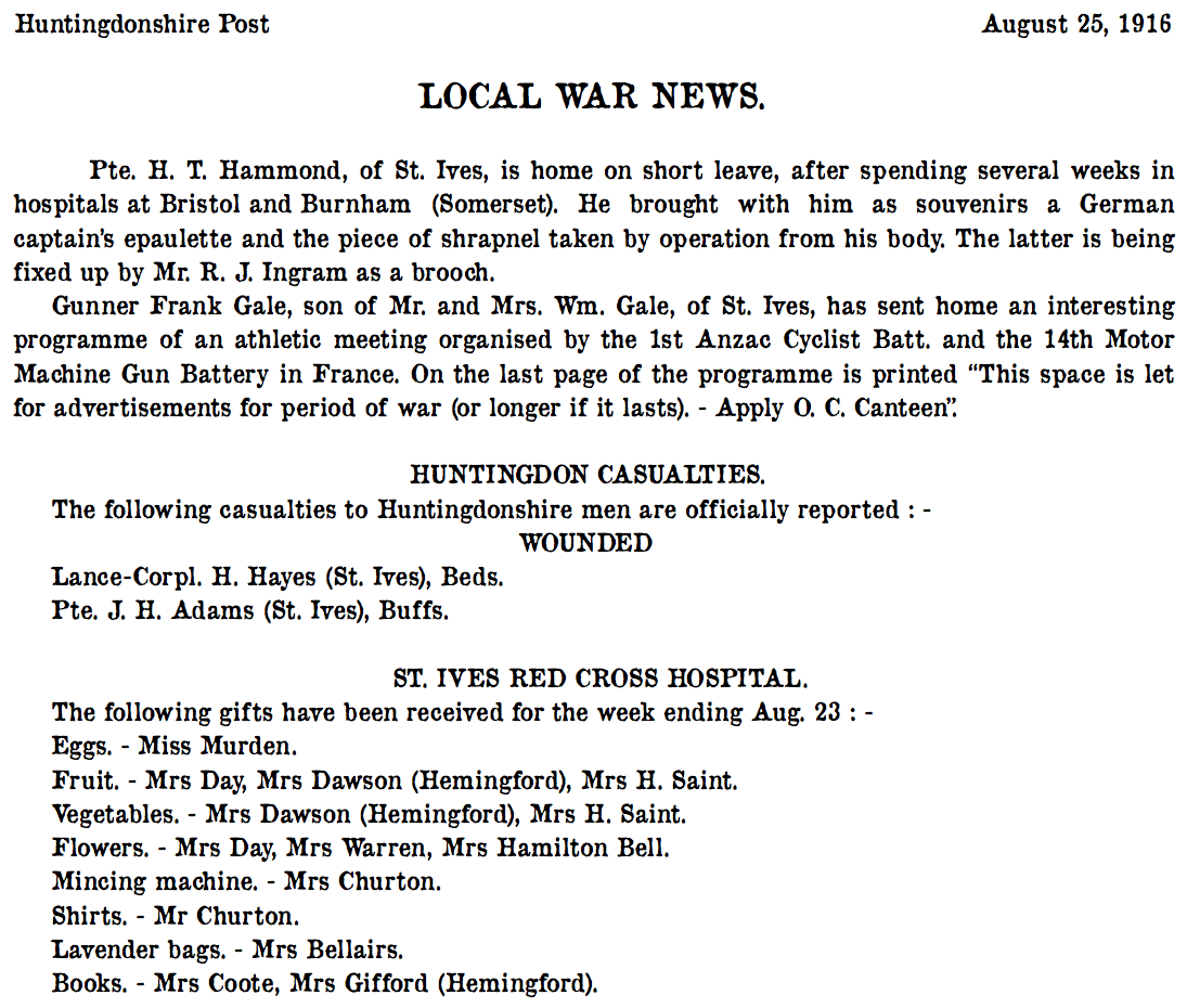 St Ives 25 August 1916