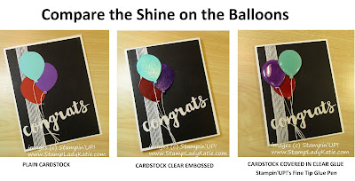Balloon card trio comparing plain paper, clear embossing and clear glue from the Fine Tip Glue Pen.