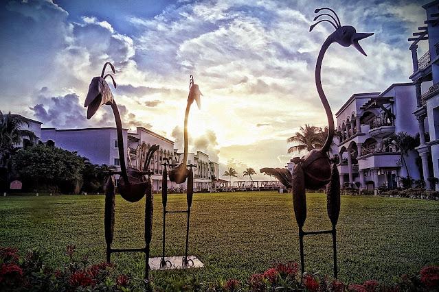 Whimsical sculptures at the Royal Playa del Carmen.