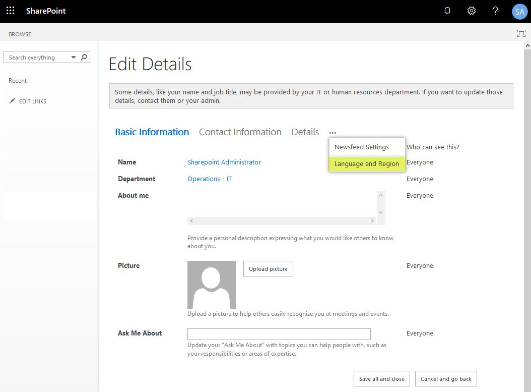 sharepoint online change language settings