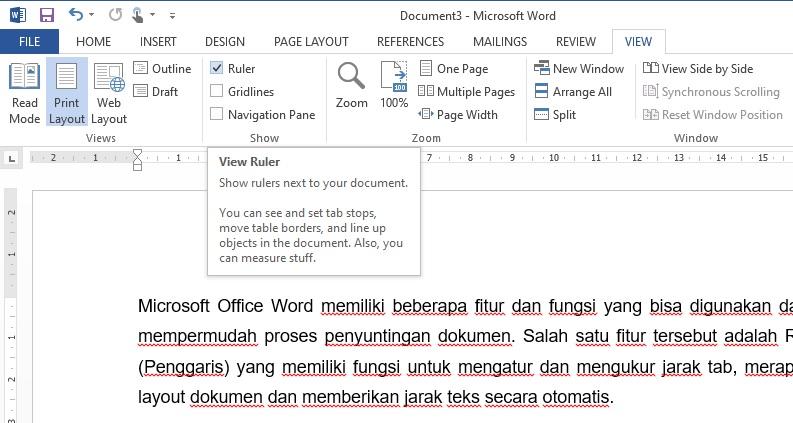 Cara Menampilkan Ruler (Penggaris) di Microsoft Word