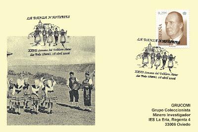 filatelia, tarjeta, matasellos, Ventolín, Danzas, Pola de Siero