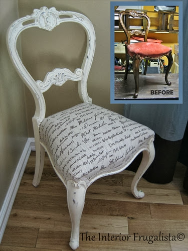Before and After picture of antique balloon back chair
