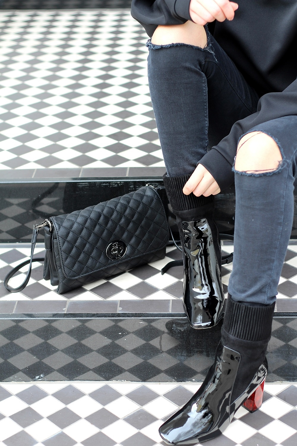 marc b bags quilted bag ripped jeans