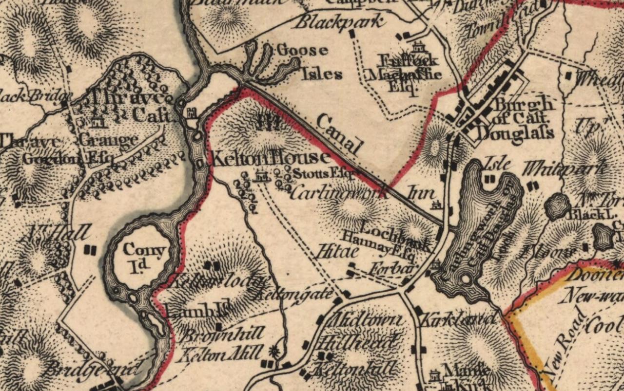 John Ainslieu0027s 1797 map showing Carlingwark canal