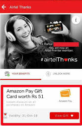 How To Get Amazon Rs.51 Gift Voucher Via My Airtel App