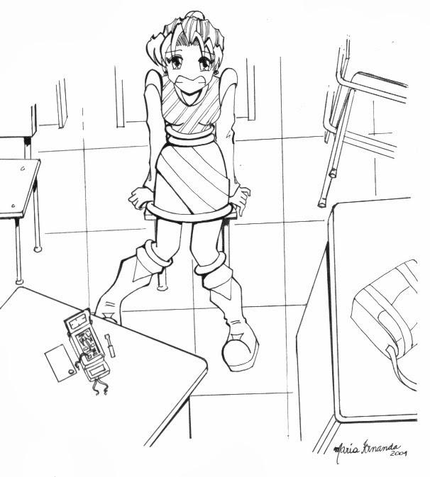 Desenho finalizado a nanquim com mulher jovem sentada no meio de uma sala de aula, olhando para cima, com um sorriso meio envergonhado no rosto, usando roupas retro-futuristas. Na mesa a sua frente um aparelho eletrônico aberto, com fios soltos e uma chave de fenda próxima a ele.
