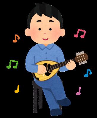 マンドリンを演奏する人のイラスト(男性)