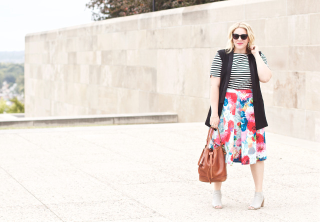 Fall outfit with floral skirt and stripe shirt