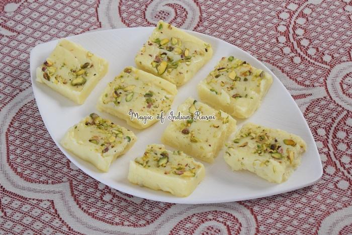 Milk Powder Burfi - Plain Barfi Recipe - वाइट प्लेन बर्फी - झटपट मिल्क पाउडर बर्फी रेसिपी - Priya R - Magic of Indian Rasoi