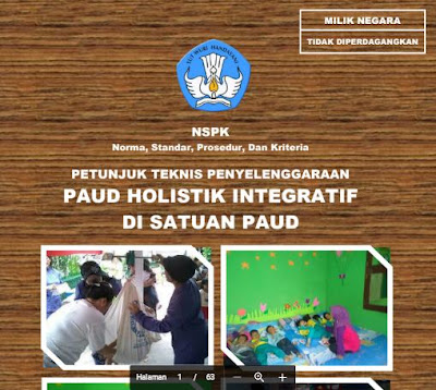 Contoh Panduan Juknis Penyelenggaraan Sekolah PAUD/TK Format Baru
