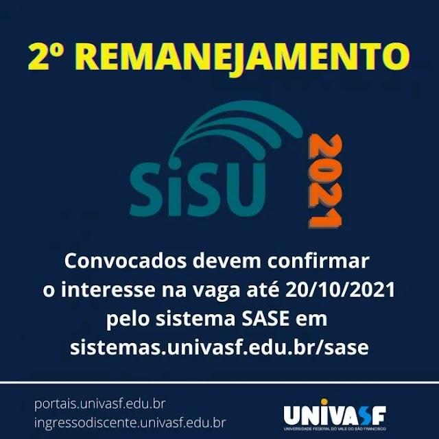 Univasf divulga 2º Remanejamento do Sisu 2021
