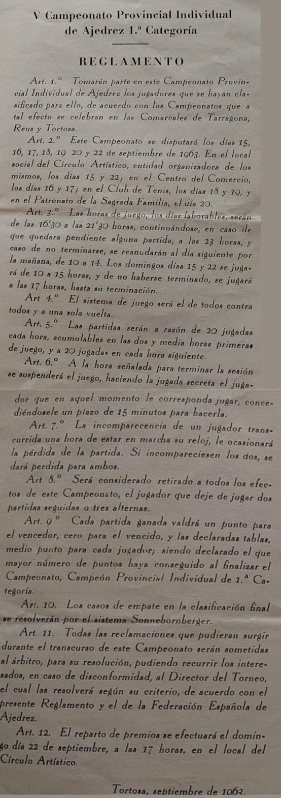 Reglamento del V Campeonato Provincial de Tarragona-1963